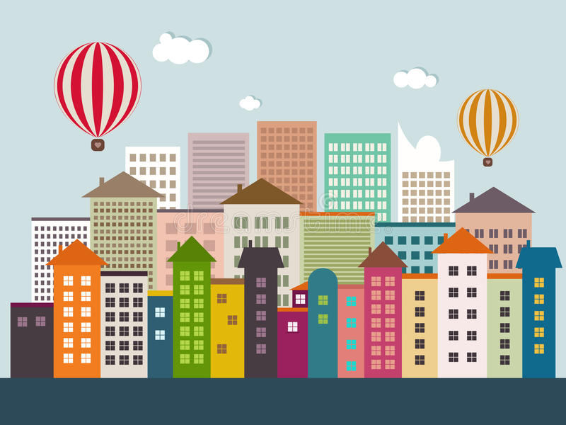 Abstract Eco City With Colorful Buildings, Hot Air Balloons, Skylines, Hot Air Balloons, Blue Sky And White Clouds. Abstract Eco City With Colorful Buildings royalty free illustration