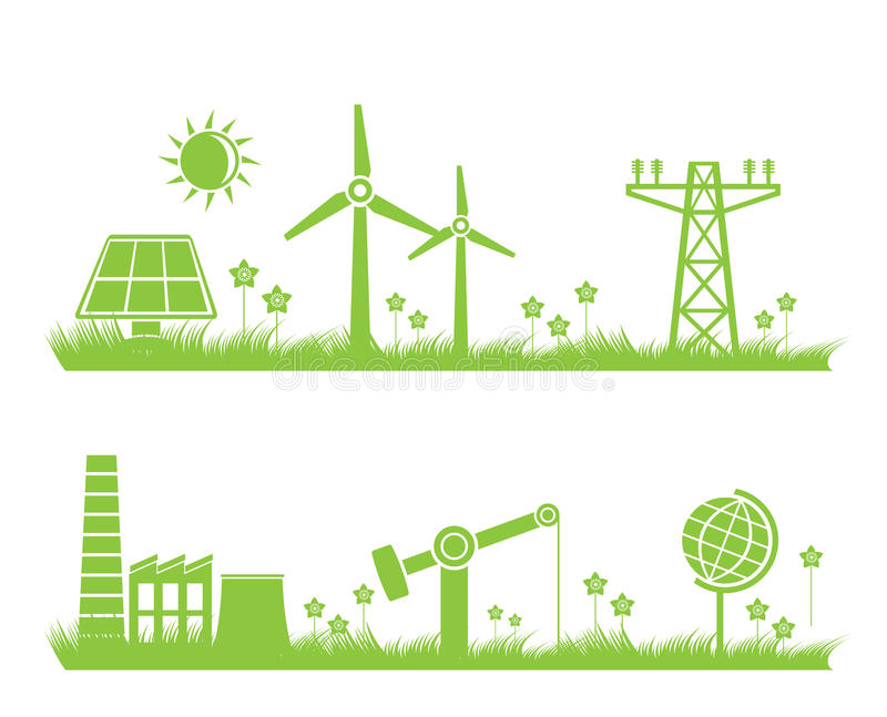 Abstract ecology, industry and nature background. Illustration royalty free illustration