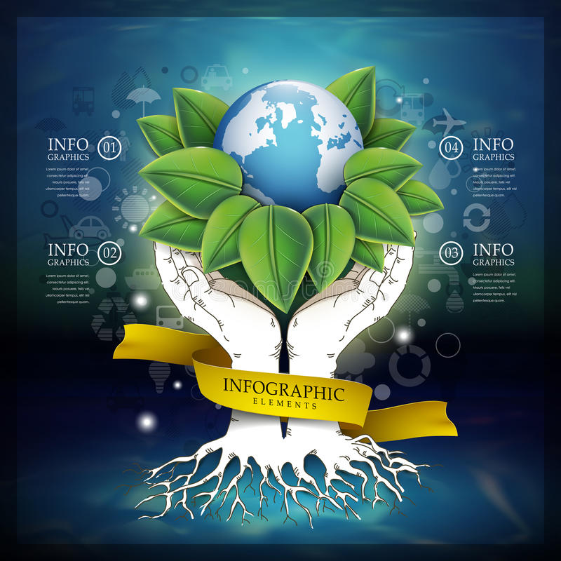 Abstract ecology template with earth and hands stock illustration