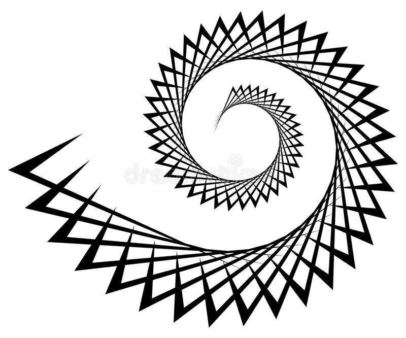 Abstract edgy spiral, volute with triangular shapes. Royalty free vector illustration royalty free illustration