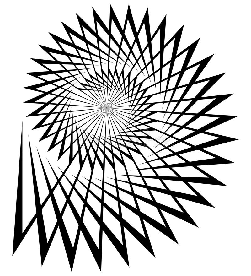 Abstract edgy spiral, volute with triangular shapes. Royalty free vector illustration vector illustration