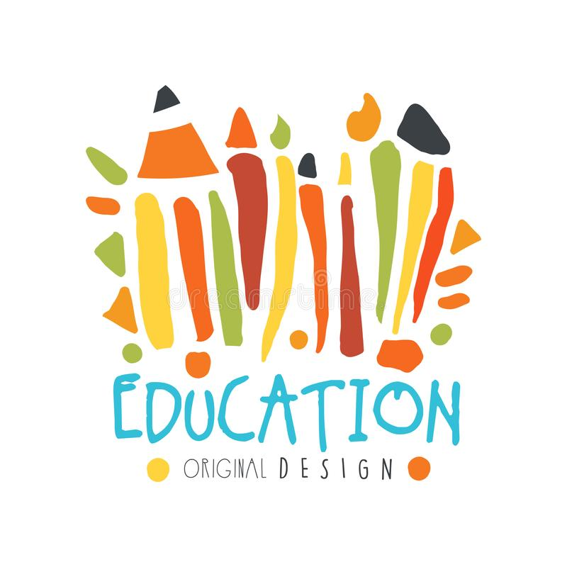 Abstract education day label concept with school supplies vector illustration