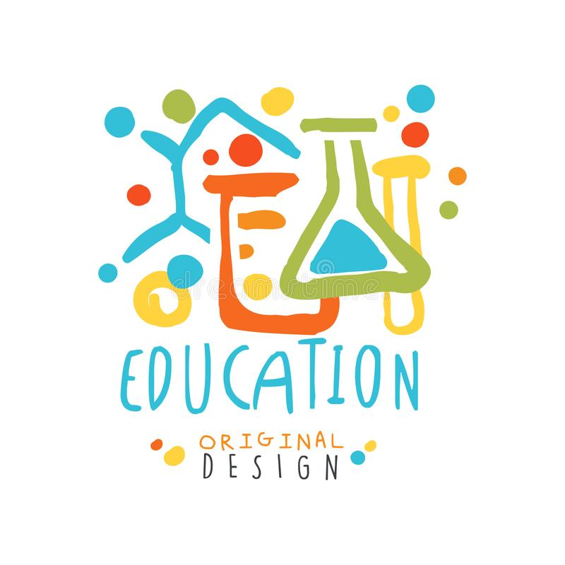 Abstract educational label with chemical test tubes and flasks royalty free illustration