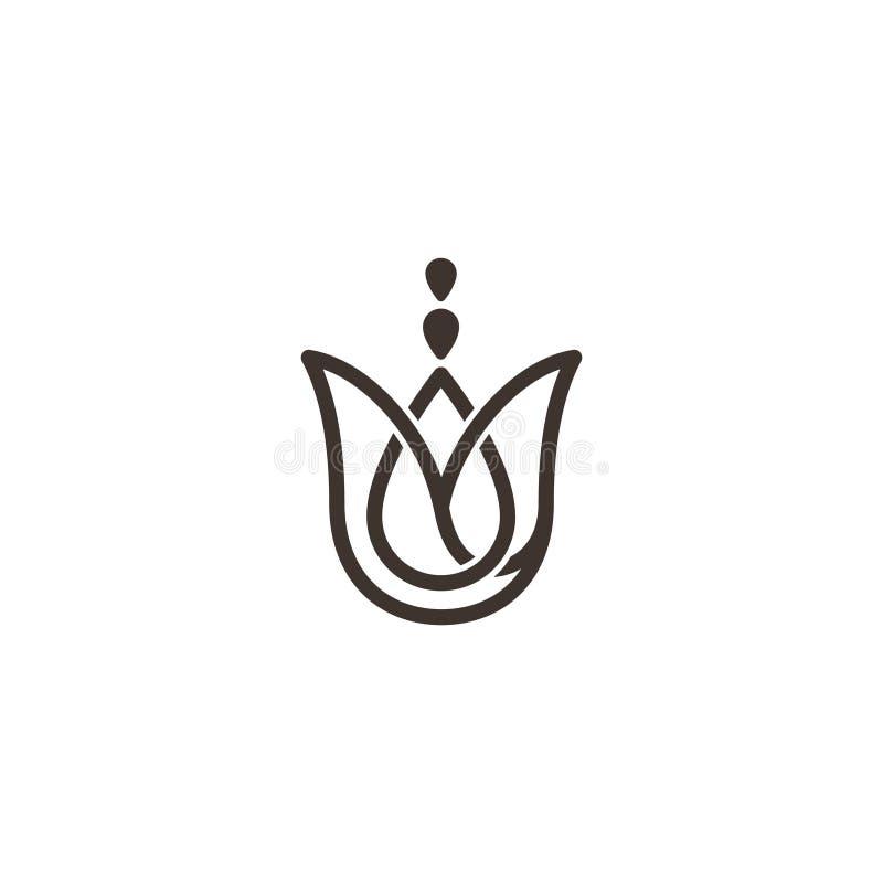 Abstract eenvoudig bloemontwerp voor yogasymbool vector illustratie