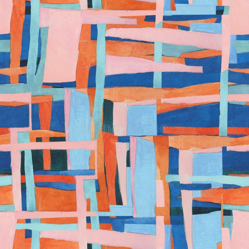 Abstract eigentijds kunst naadloos patroon De geometrische illustratie van de Watercolourcollage royalty-vrije illustratie