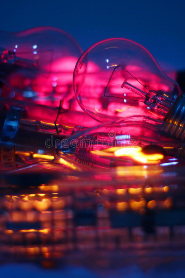 Abstract electric bulbs royalty free stock photos