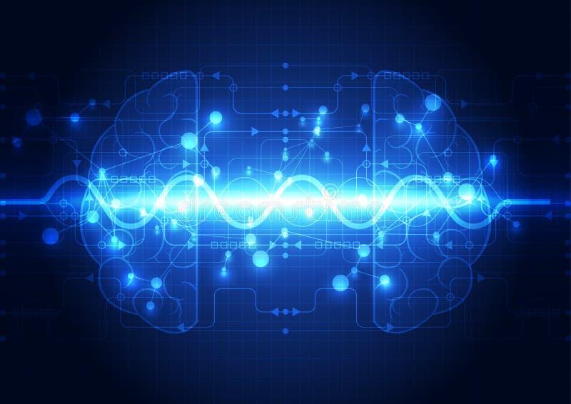 Abstract electric circuit digital brain,technology concept. Illustration innovation stock illustration