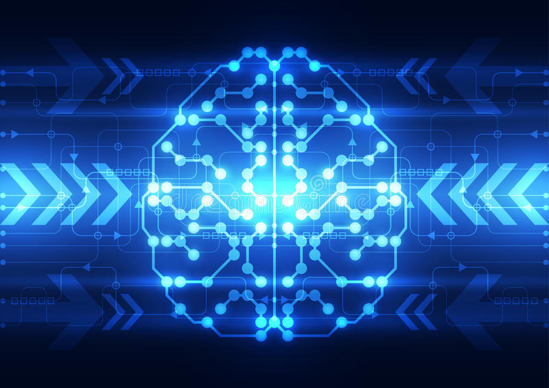 Abstract electric circuit digital brain,technology concept. Illustration vector innovation royalty free illustration