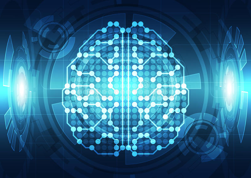 Abstract electric circuit digital brain,technology concept. Innovation vector illustration