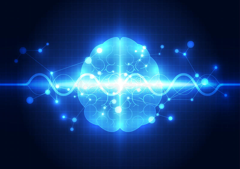 Abstract electric circuit digital brain,technology concept. Vector illustation royalty free illustration