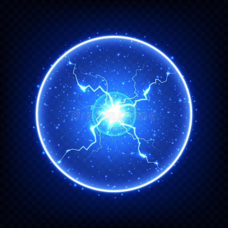 Abstract electric element, glowing ball lightning. Isolated on dark transparent background. Realistic vector illustration royalty free illustration