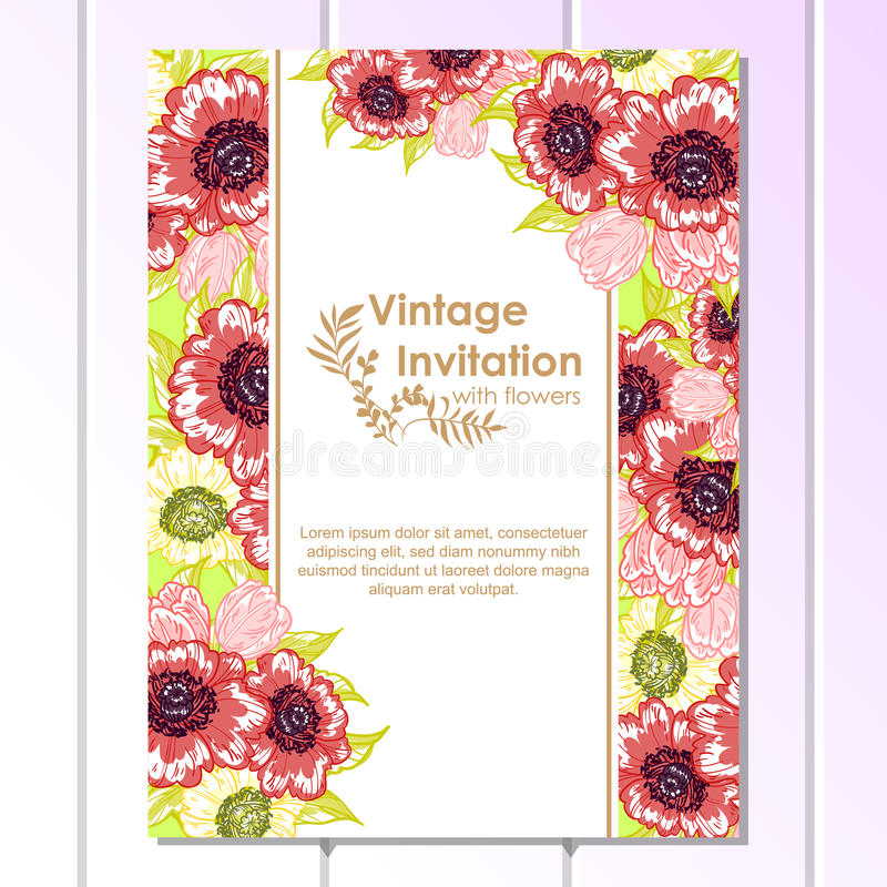 Abstract elegance invitation with floral background. Vintage delicate invitation with flowers for wedding, marriage, bridal, birthday, Valentine's day vector illustration