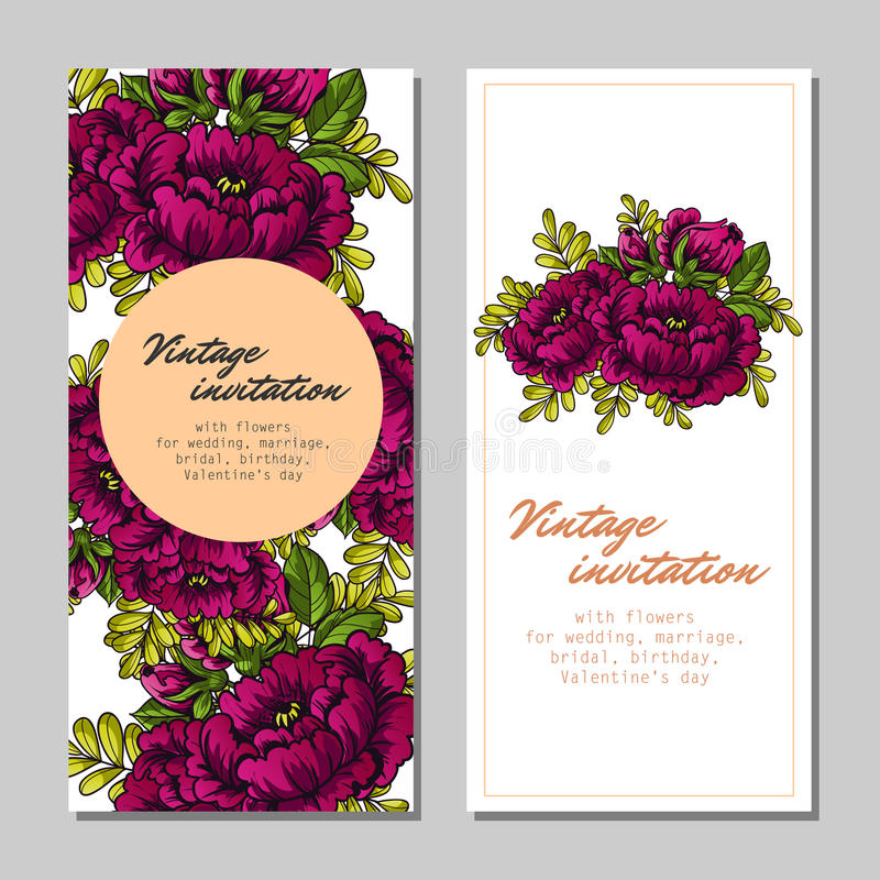 Abstract elegance invitation with floral background. Vintage delicate invitation with flowers for wedding, marriage, bridal, birthday, Valentine's day stock illustration
