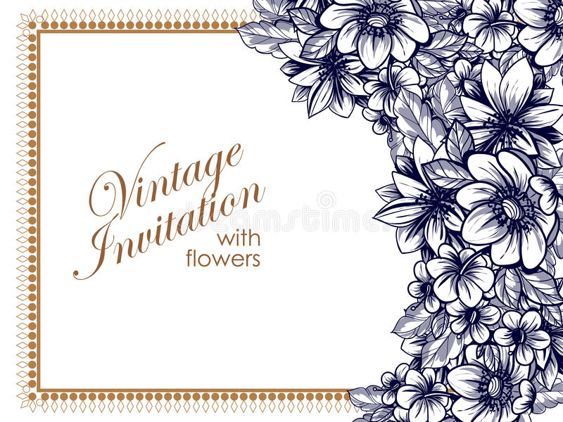 Abstract elegance invitation with floral background. Vintage delicate invitation with flowers for wedding, marriage, bridal, birthday, Valentine's day royalty free illustration