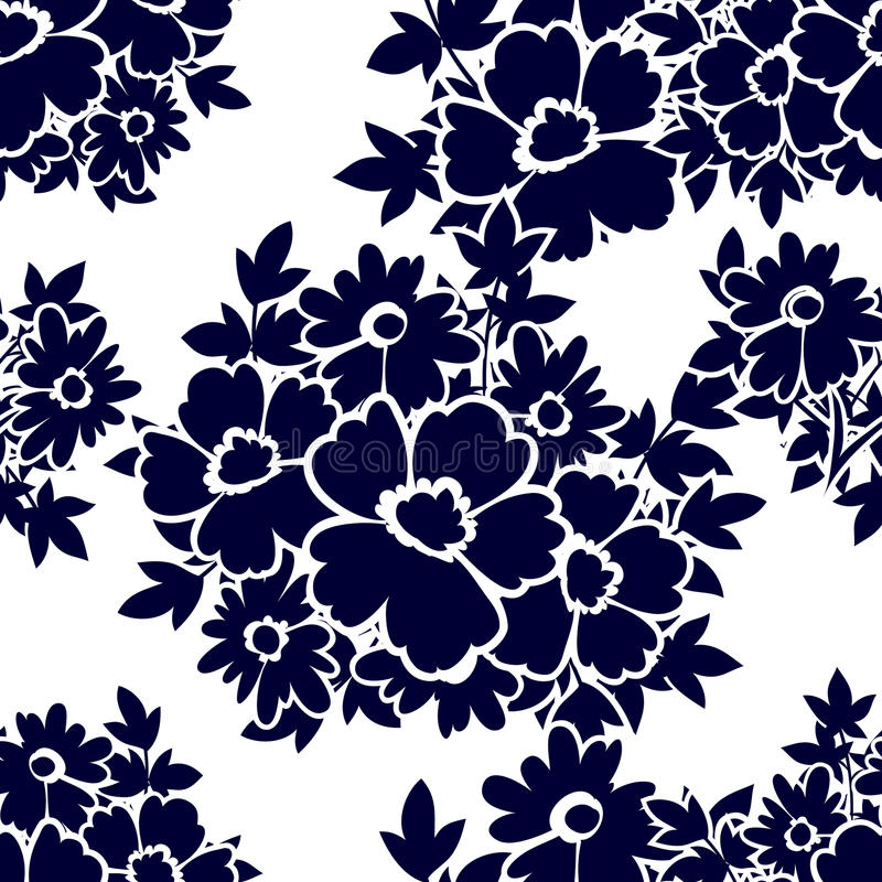 Abstract elegance seamless pattern with floral elements stock illustration
