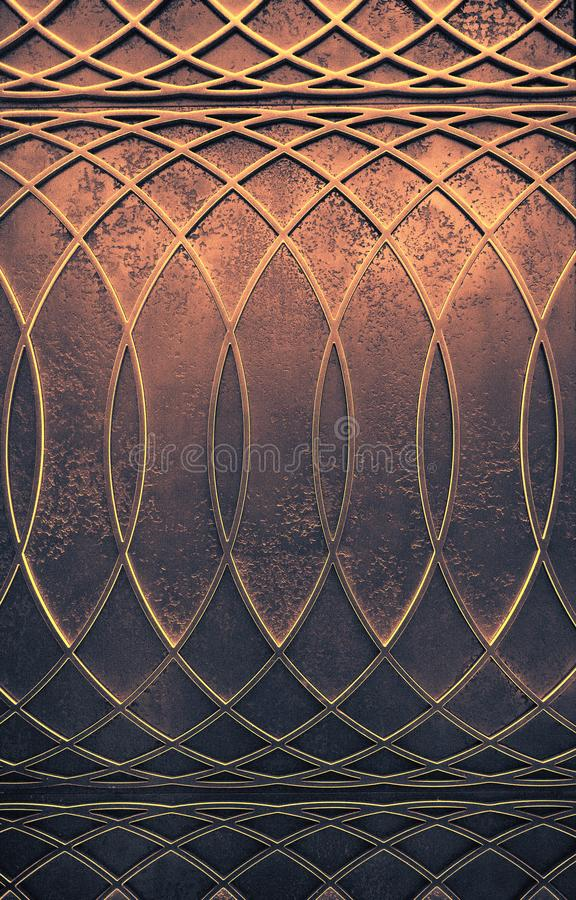 Abstract art deco geometric background. Abstract elegant art deco geometric ornamented copper textured background stock photos