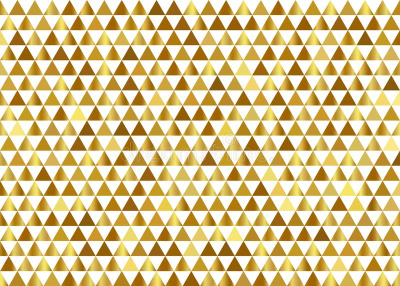 Abstract elegant gold gradient geometric triangles pattern on white background and texture. Luxury premium styles royalty free illustration