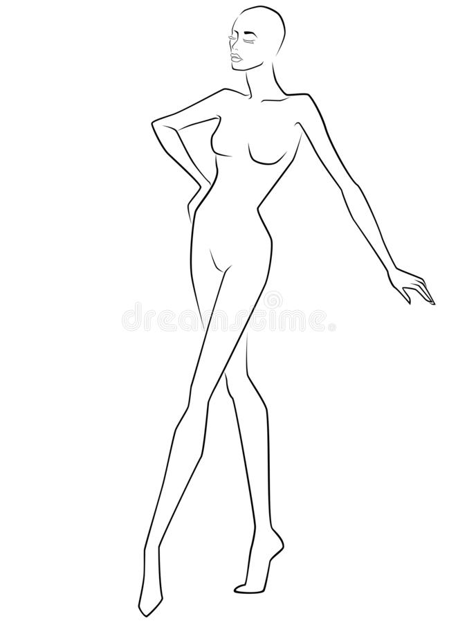 Abstract elegant lady with closed eyes. Abstract elegant and graceful woman with closed eyes, hand drawing outline