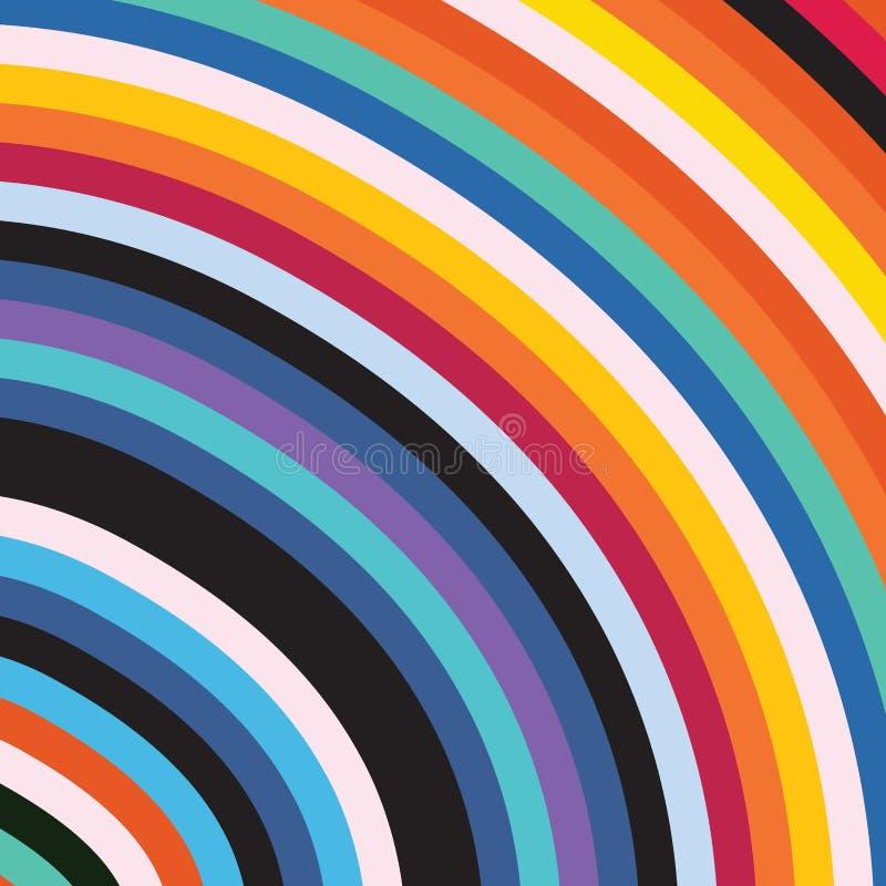 Abstract Elegant Rainbow Colorful Circle Stripe Sun Burst Background vector illustration