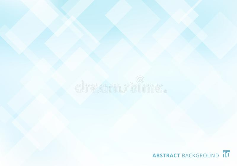 Abstract elegant squares shapes pattern overlay layer geometric white and blue gradient color background. Vector illustration royalty free illustration