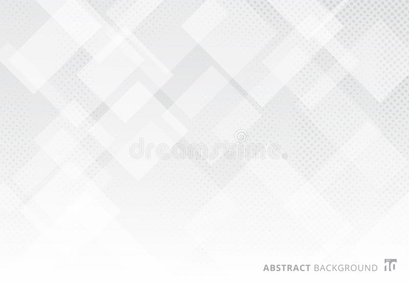 Abstract elegant squares shapes pattern overlay layer geometric white and gray gradient color background with halftone texture. Vector illustration stock illustration