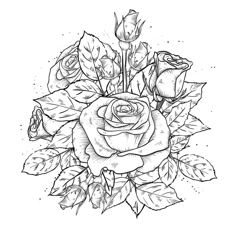 Vintage template with rose flowers stock illustration