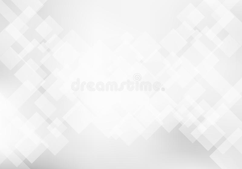 Abstract elegant white and gray geometric background technology concept. Squares pattern texture stock illustration