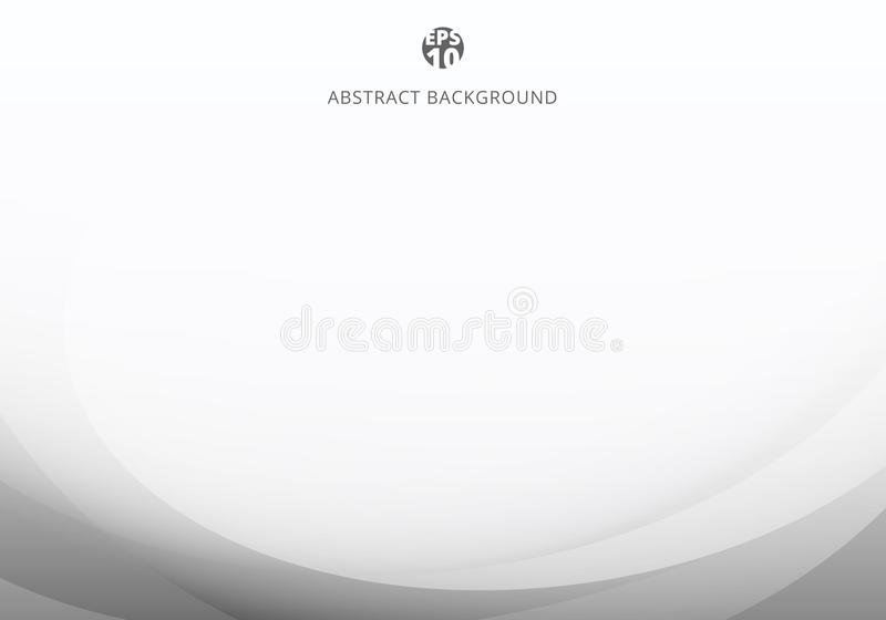 Abstract elegant white and gray light curve template on white background with copy space vector illustration