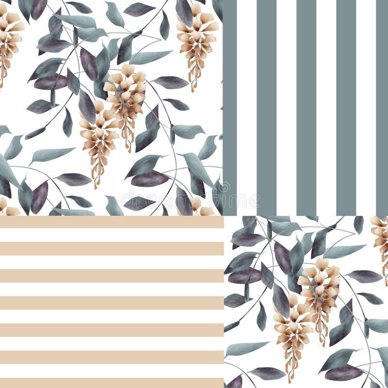 Abstract elegantie naadloos patroon met backgro van gliciniabloemen stock illustratie