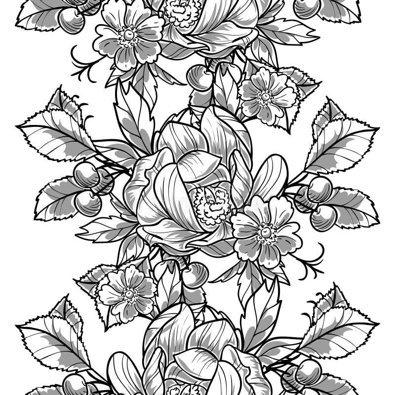 Abstract Elegantie Naadloos patroon met bloemenelementen royalty-vrije illustratie