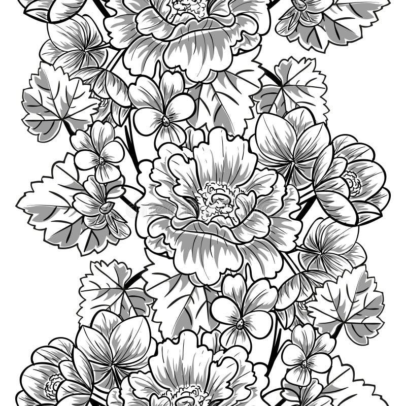 Abstract Elegantie Naadloos patroon met bloemenelementen stock illustratie