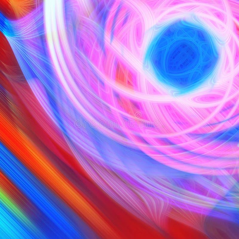 Abstract element als achtergrond Het dynamische roze en blauwe patroon van krommen ands onduidelijke beelden Wetenschap en techno stock illustratie