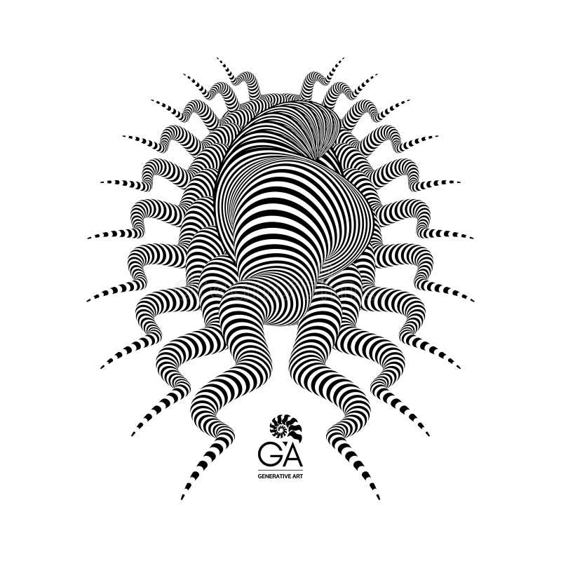 Abstract element voor druk of ontwerp Zwart-wit 3d art. Vector illustratie royalty-vrije illustratie