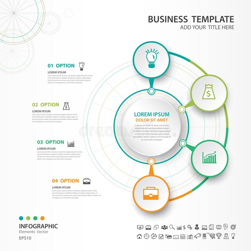 Abstract elements of cycle diagram with 4 steps, options, Vector illustration, web design, presentation, diagram, workflow layout vector illustration