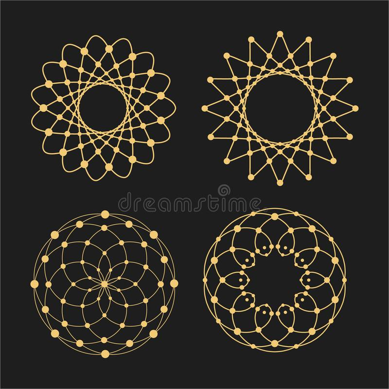 Vector linear circles, stars, spiral abstract logos and round shapes. Design elements of dots and lines stock illustration