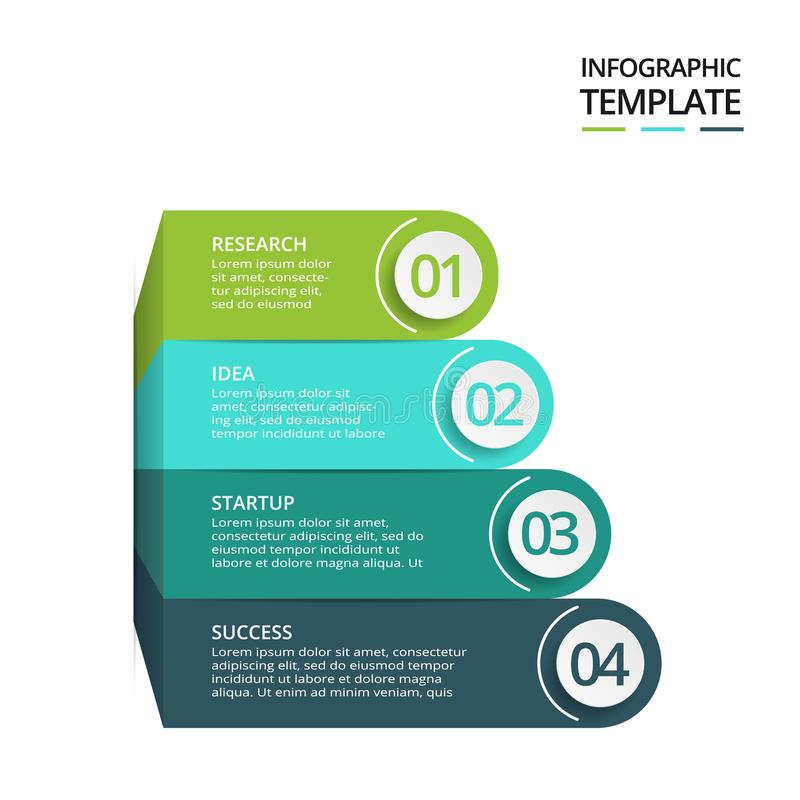 Abstract elements of graph, diagram with 4 steps, options, parts or processes. Vector business template for presentation. Creative concept for infographic stock illustration