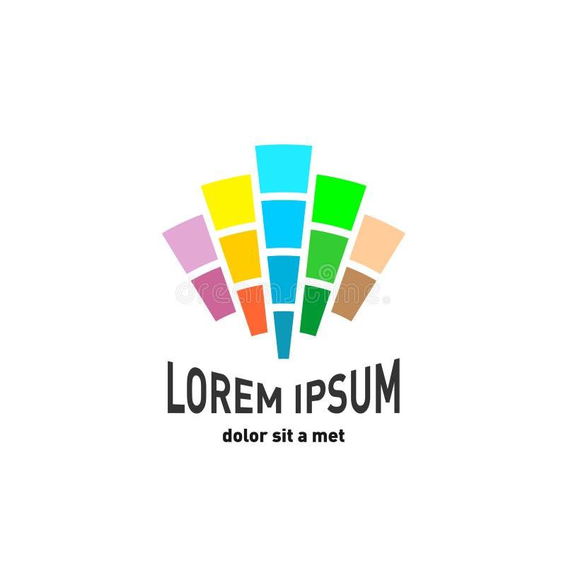Abstract embleem met kleuren lichte stralen stock illustratie