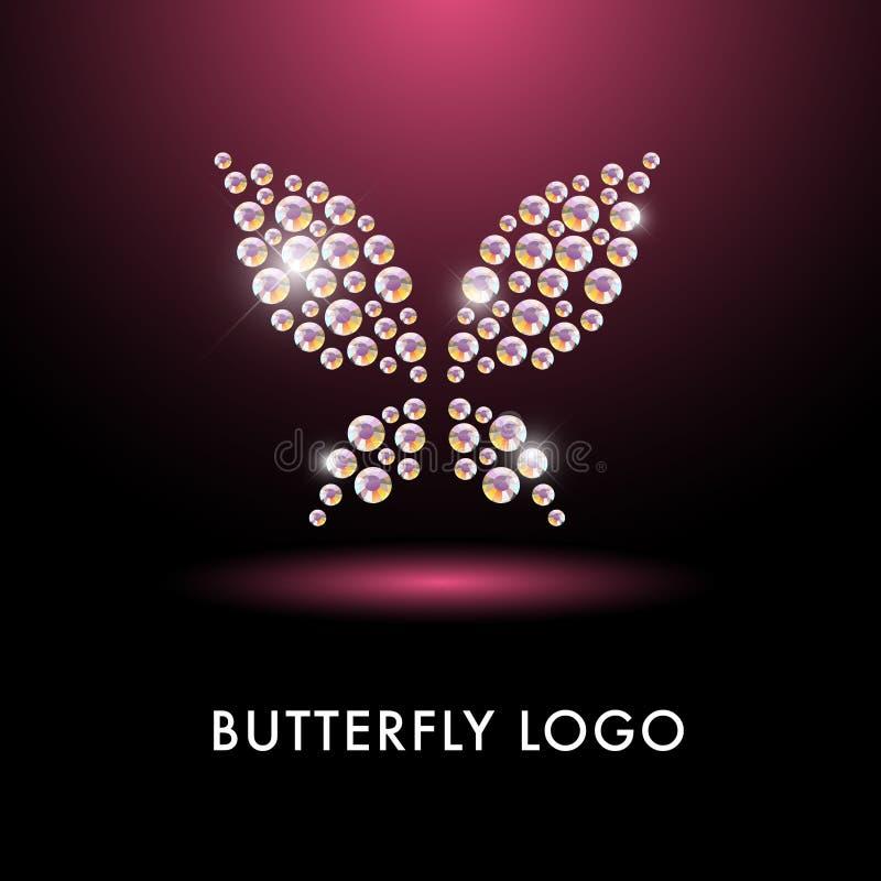 Abstract embleem met vlinderkarakter royalty-vrije illustratie