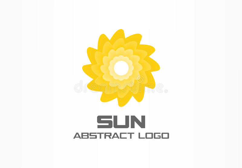 Abstract embleem voor bedrijf Eco, spiraalvormige zonenergie, geel zonlicht logotype idee Natuurlijk milieu, aard stock illustratie