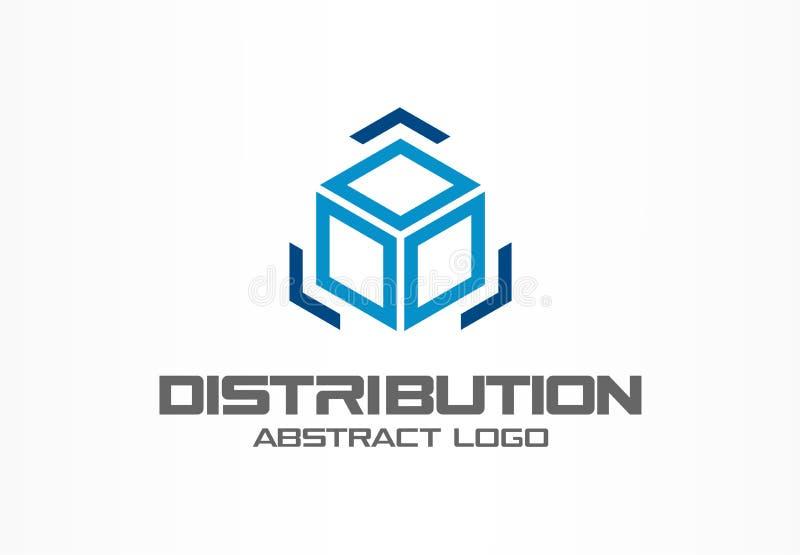 Abstract embleem voor bedrijf Het collectieve element van het identiteitsontwerp Ladingsdoos en pijlen rond, levering, de uitvoer royalty-vrije illustratie