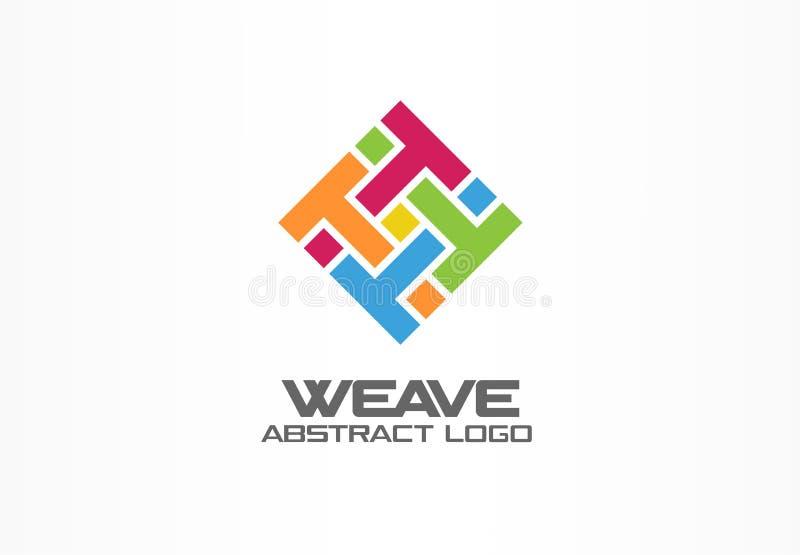 Abstract embleem voor bedrijf Het collectieve element van het identiteitsontwerp Weefsel, brief t, druk logotype idee vierkant vector illustratie