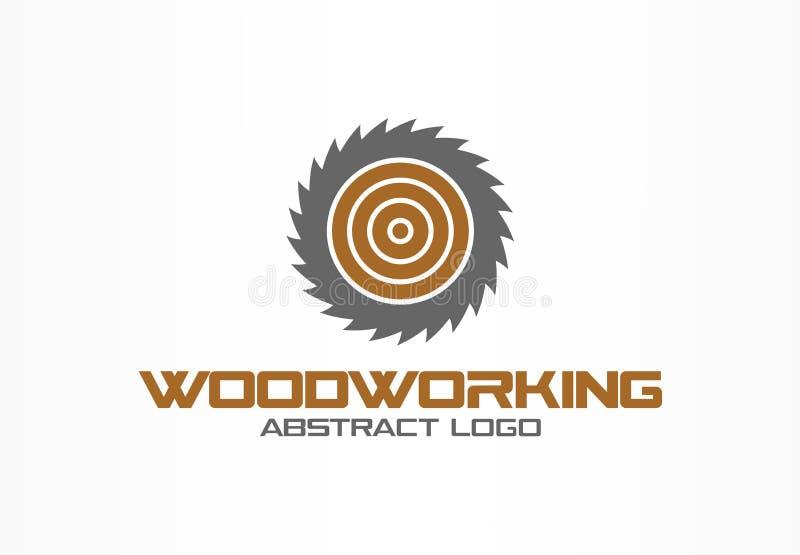 Abstract embleem voor bedrijf Het collectieve element van het identiteitsontwerp Zaag, houtbewerking, houten materieel logotypeid royalty-vrije illustratie