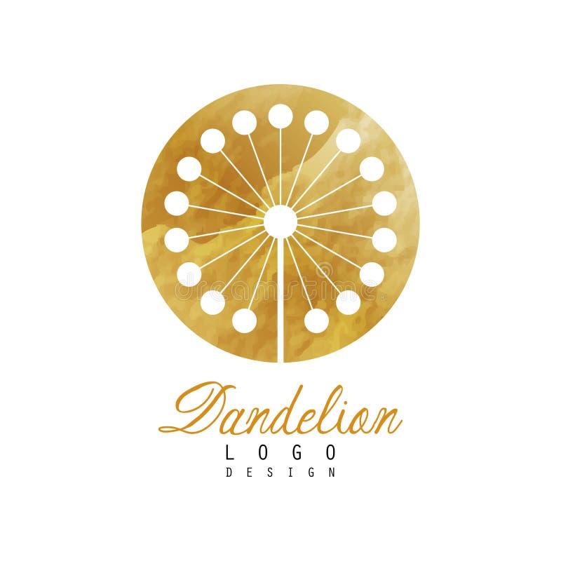 Abstract embleemontwerp met paardebloem op gouden rond gemaakte textuur Luxebloem Decoratief vectorelement voor banner vector illustratie
