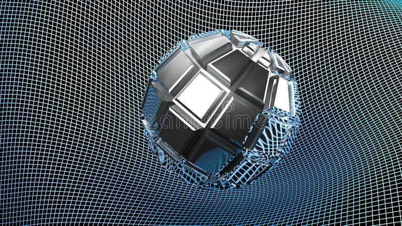 Abstract embossed metallic chrome object on a deformed grid surface - 3D rendering illustration vector illustration