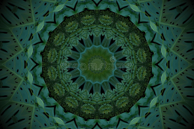 Abstract emerald green background, tropical leaves pattern with. Kaleidoscope effect stock images