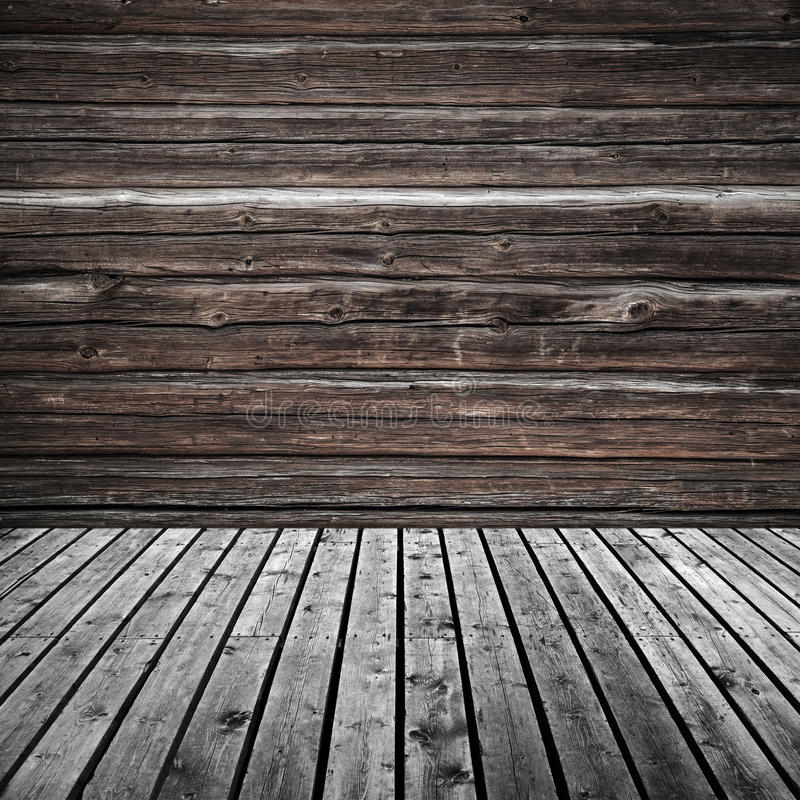 Abstract empty dark wooden room background stock photography
