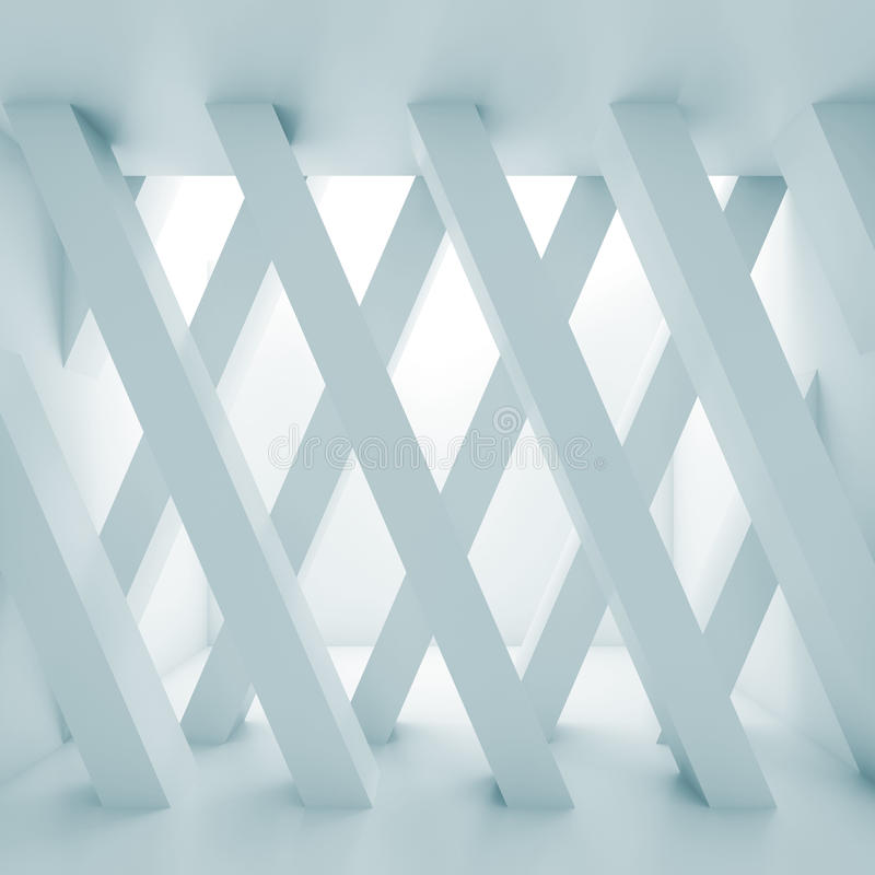 Abstract empty hall, partition made of girders 3d vector illustration