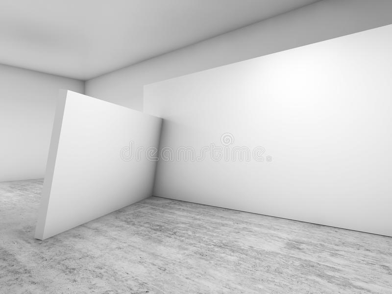 Abstract empty interior, white hall 3d royalty free illustration