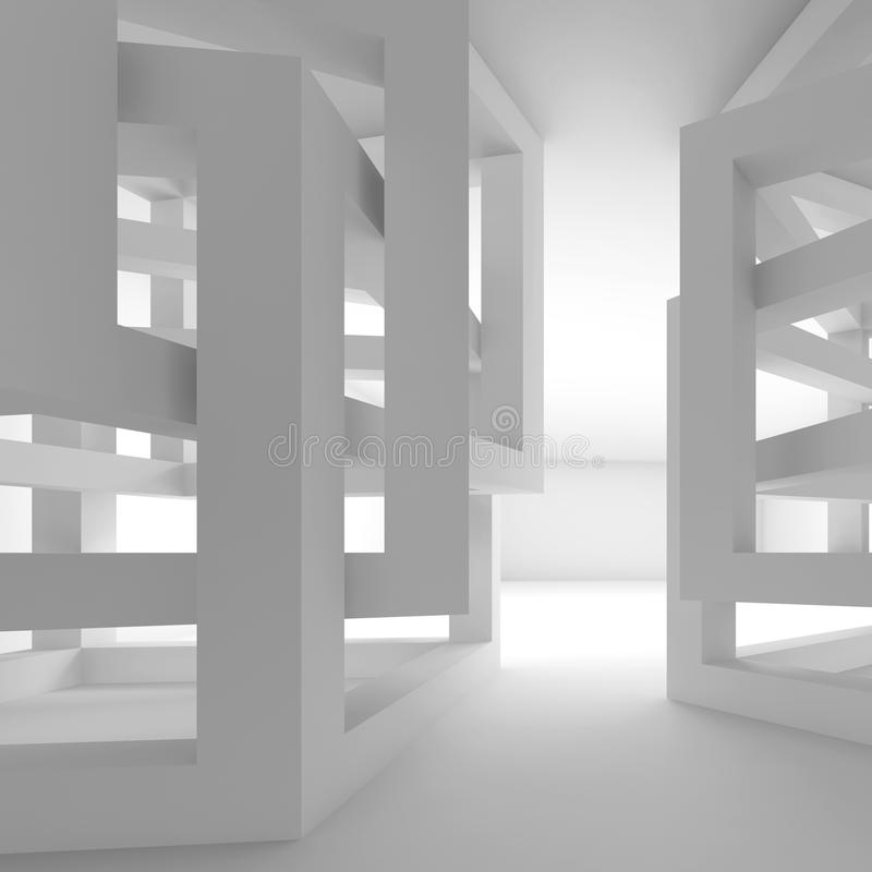 Abstract empty white modern interior fragment royalty free illustration