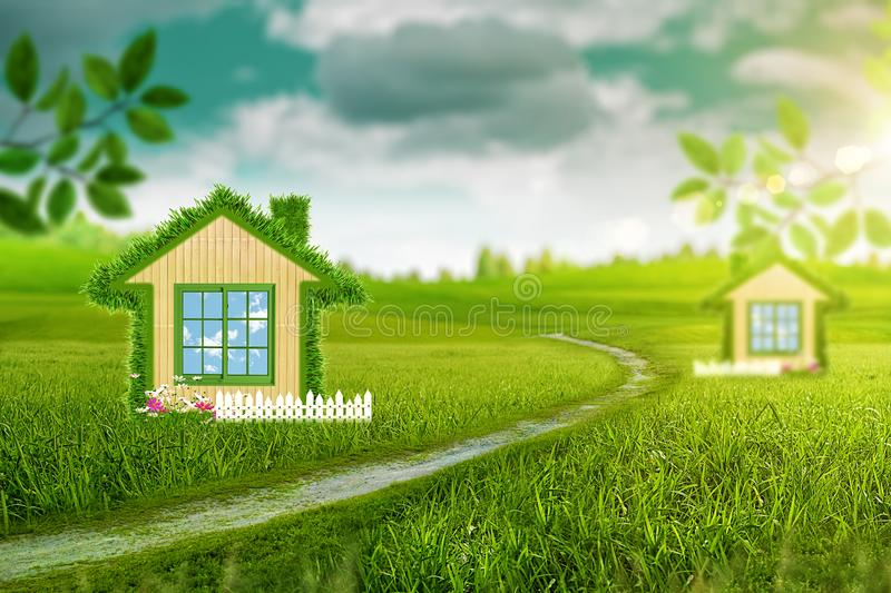 Abstract energy savings and eco construction backgr. Green House. Abstract energy savings and eco construction backgrounds stock images